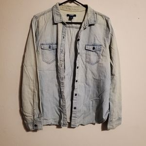Old Navy faux denim button up